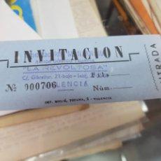 Tauromaquia: ANTIGUA ENTRADA INVITACION COMICO TAURINO LA REVOLTOSA VALENCIA. Lote 287885063