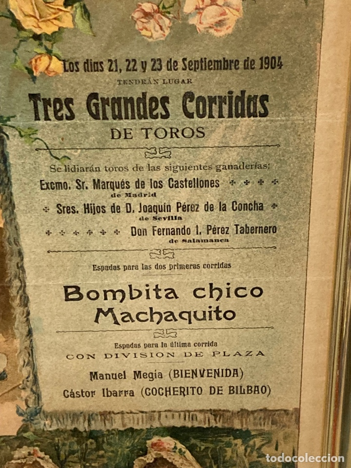 Tauromaquia: Magnifico cartel antiguo de toros - Foto 3 - 288053533