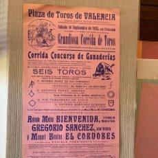 Tauromaquia: ANTONIO BIENVENIDA, GREGORIO SÁNCHEZ Y EL CORDOBÉS. CARTEL TOROS VALENCIA. 14 SEPTIEMBRE 1963. Lote 294578638