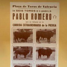 Tauromaquia: TOROS DE PABLO ROMERO. CARTEL VALENCIA. 12 DE OCTUBRE DE 1968. CORRIDA DE LA PRENSA. Lote 294825738