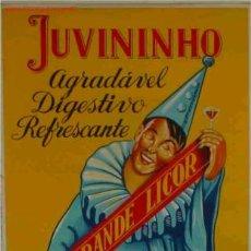 Coleccionismo de vinos y licores: CARTEL LICOR JUVININHO ARLEQUIN , PRECIOSO , GRAN COLORIDO, MUY DECORATIVO, PORTUGAL, RB. Lote 194709821