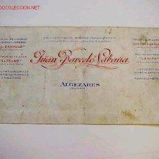 Coleccionismo de vinos y licores: ORIGINAL FABRICA DE LICORES Y ANISADOS JUAN BARCELO SABAÑA, ALGEZARES (MURCIA). Lote 27575452