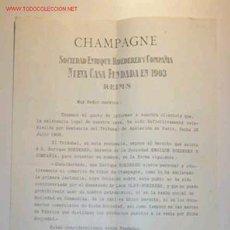 Coleccionismo de vinos y licores: CIRCULAR DE LISTA DE PRECIOS DE CHAMPAGNE DE LA SOCIEDAD ENRIQUE ROEDERER Y COMPAÑIA.19/7/1909. Lote 9588371