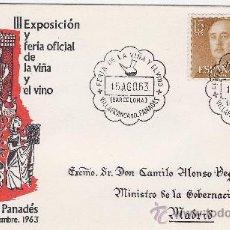 Coleccionismo de vinos y licores: VILAFRANCA DEL PANADES (BNA) FERIA DEL VINO. AÑO 1963 FILATELIA. Lote 14913376