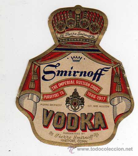 ETIQUETA DE SMIRNOFF VODKA (Coleccionismo - Botellas y Bebidas - Vinos, Licores y Aguardientes)