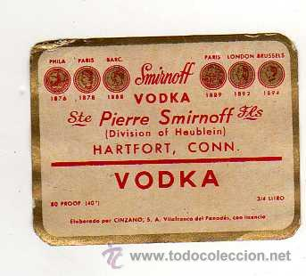 ETIQUETA SMIRNOFF VODKA, FABRICADO POR CINZANO - VILAFRANCA DEL PANADES (Coleccionismo - Botellas y Bebidas - Vinos, Licores y Aguardientes)