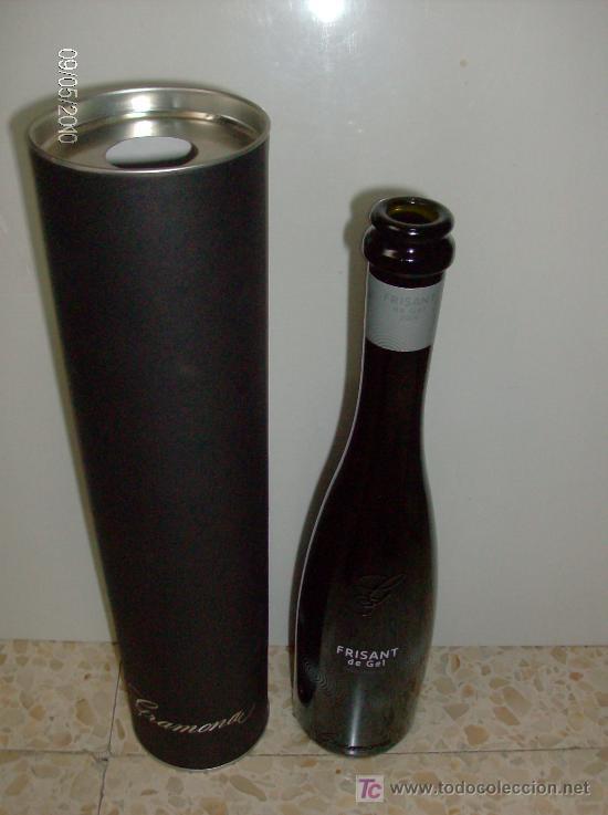 BOTELLA CAVA FRISANT DE GRAMONA VACÍA CON PORTABOTELLAS BOTELLA SERIGRAFIADA 375ML (Coleccionismo - Botellas y Bebidas - Vinos, Licores y Aguardientes)