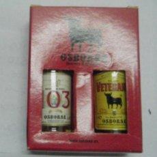 Coleccionismo de vinos y licores: CAJETILLA DE BOTELLINES OSBORNE. BRANDY 103 Y SOLERA VETERANO RF-135. Lote 26342655