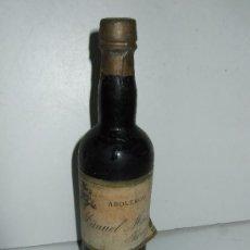 Coleccionismo de vinos y licores: BOTELLIN MINIATURA ABOLENGO - MANUEL MISA - JEREZ - 15CM - TAPON TIPO PLOMO. Lote 31008147