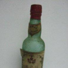 Coleccionismo de vinos y licores: BOTELLIN MINIATURA COÑAC JEREZANO - N P U ROMATE - SANCHEZ ROMATE HNOS - JEREZ - 13 CM - SELLO RENTA. Lote 31041261