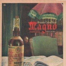 Coleccionismo de vinos y licores: PUBLICIDAD ANTIGUA. BRANDY. MAGNO. OSBORNE. 1956.. Lote 32190586