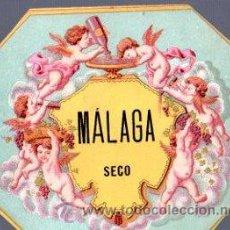 Coleccionismo de vinos y licores: ETIQUETA DE VINO MALAGA SECO. LIT. MALLOFRE. Lote 32224375