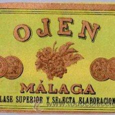 Coleccionismo de vinos y licores: ETIQUETA DE VINO OJEN MALAGA, CLASE SUPERIOR Y SELECTA ELABORACION. Lote 32224685