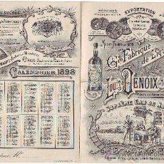Coleccionismo de vinos y licores: PUBLICIDAD FABRICA DE LICORES LOUIS DENOIX LORRAINE (FRANCIA) 1898. Lote 33751765