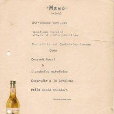 Coleccionismo de vinos y licores: ANTIGUA MINUTA MENU BODEGAS PERIS VALENCIA 1962 PUBLICIDAD. Lote 57098099