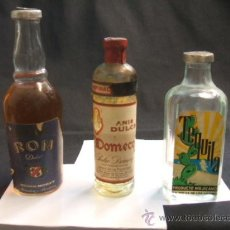Coleccionismo de vinos y licores: LOTE 3 BOTELLINES - ANIS DULCE DOMECQ - RON DULCE DEST. MOREY - TEQUILA - . Lote 36111585