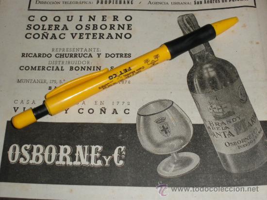 COQUINERO, SOLERA OSBORNE. COÑAC VETERANO. (Coleccionismo - Botellas y Bebidas - Vinos, Licores y Aguardientes)
