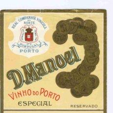 Coleccionismo de vinos y licores: ETIQUETA VINO OPORTO. Lote 40359170