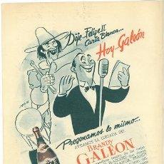 Coleccionismo de vinos y licores: PUBLICIDAD ANTIGUA. BRANDY. BRANDY GALEÓN. 1952.. Lote 42169852