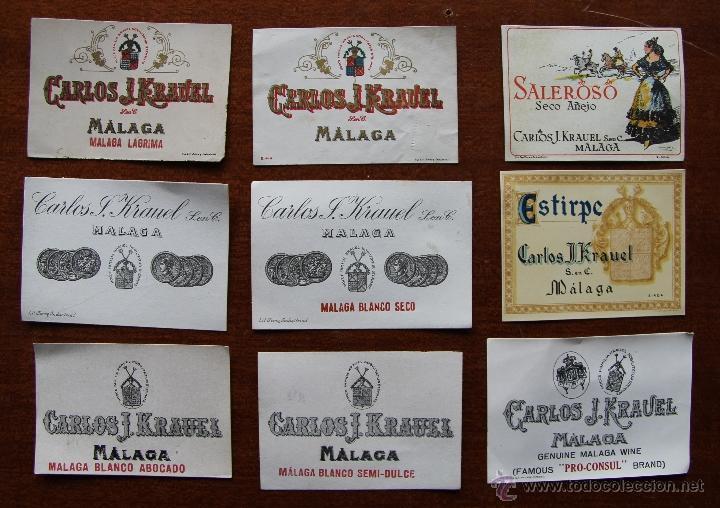CURIOSA COLECCION DE NUEVE ETIQUETAS DIFERENTES DE VINO DE LAS BODEGAS KRAUEL DE MALAGA (Coleccionismo - Botellas y Bebidas - Vinos, Licores y Aguardientes)