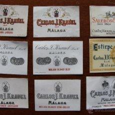 Coleccionismo de vinos y licores: CURIOSA COLECCION DE NUEVE ETIQUETAS DIFERENTES DE VINO DE LAS BODEGAS KRAUEL DE MALAGA. Lote 42446888