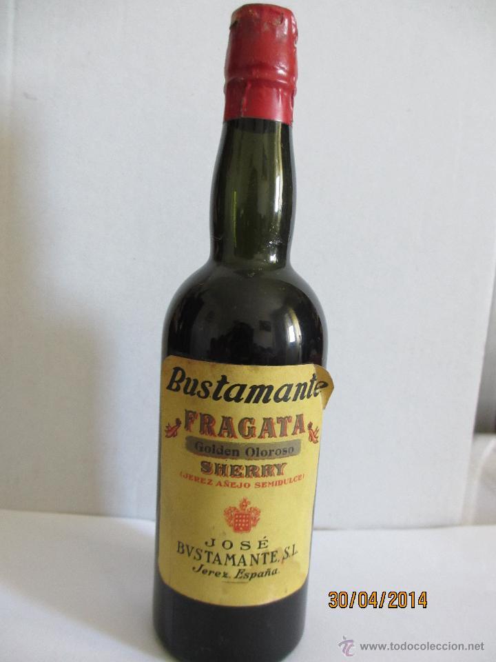 BOTELLIN FRAGATA, GOLDEN OLOROSO SHERRY (JEREZ AÑEJO SEMIDULCE). JOSÉ BUSTAMANTE. JEREZ (ESPAÑA). (Coleccionismo - Botellas y Bebidas - Vinos, Licores y Aguardientes)