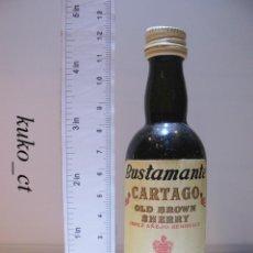 Coleccionismo de vinos y licores: BOTELLITA BOTELLIN BUSTAMANTE CARTAGO OLD BROWN SHERRY JOSE BUSTAMANTE JEREZ ESPAÑA. Lote 43613256