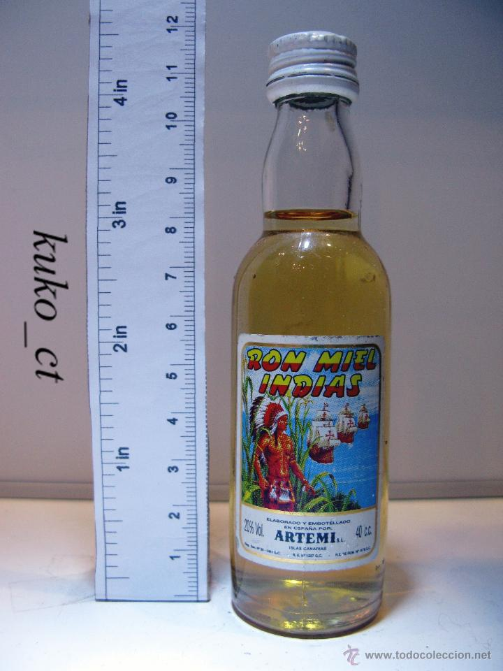 BOTELLITA BOTELLIN RON MIEL INDIAS DESTILERIAS ARTEMI CANARIAS (Coleccionismo - Botellas y Bebidas - Vinos, Licores y Aguardientes)