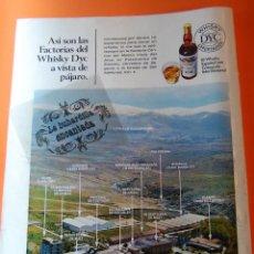 Coleccionismo de vinos y licores: PUBLICIDAD ORIGINAL- AÑO 1970 - WHISKY DYC ESPAÑOL. Lote 44814744