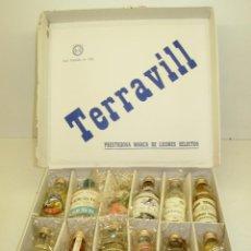 Coleccionismo de vinos y licores: LOTE 12 BOTELLINES TERRAVILL CON CAJA, ANÍS-GINEBRA-RON-BRANDY.... Lote 45538833