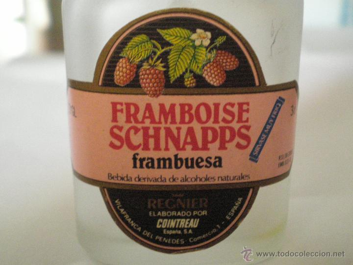 Coleccionismo de vinos y licores: VILAFRANCA DEL PENEDES.FRAMBOISE SCHNAPPS. REGNIER. PEQUEÑA BOTELLA DE CRISTAL - Foto 2 - 45652967