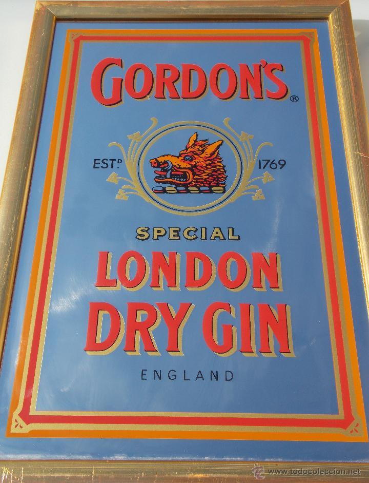 ANTIGUO ESPEJO CUADRO BEBIDA GIN GORDON GINEBRA // PUBLICIDAD BEBIDA GIN GORDON (Coleccionismo - Botellas y Bebidas - Vinos, Licores y Aguardientes)