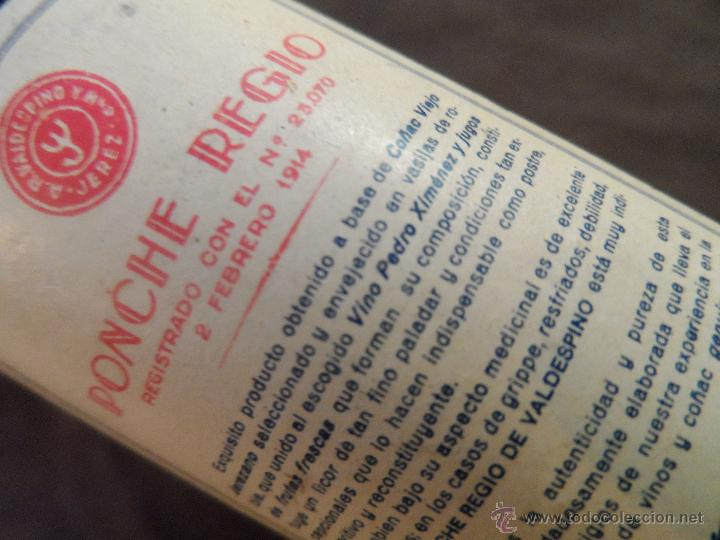 Coleccionismo de vinos y licores: PAR DE BOTELLINES DE PONCHE REGIO -A.R.VALDESPINO JEREZ- AÑO 1914 - Foto 6 - 47856162