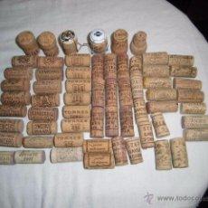 Coleccionismo de vinos y licores: 61 TAPONES DE CORCHO VINO Y ALGUNO DE CAVA VER FOTOS. Lote 48338619