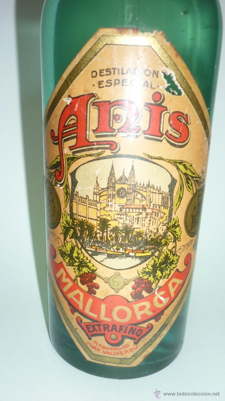 Coleccionismo de vinos y licores: ANIS MALLORCA. Antigua botella. Precinto antiguo. Tapon de corcho. 25 cmts. altura. - Foto 4 - 48551475