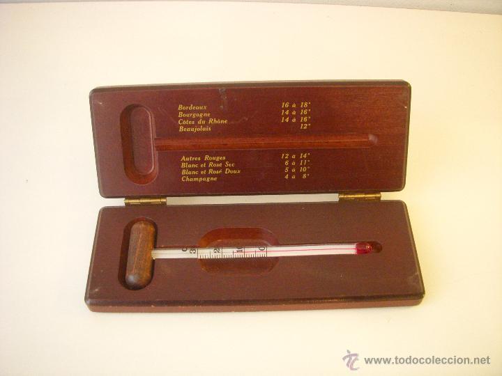 termmetro para vinos en su caja de madera vinos licores y