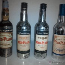 Coleccionismo de vinos y licores: FLORIDO HERMANOS, LOPEZ HERMANOS, BODEGAS YUSTE. LAS 4 BOTELLAS DE PICO PLATA DESDE SUS INICIOS.. Lote 52651831