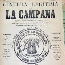 Coleccionismo de vinos y licores: ANTIGUA PUBLICIDAD LA CAMPANA, GINEBRA, SIGLO XIX. Lote 53677003