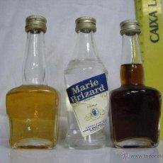Coleccionismo de vinos y licores: LOTE Nº 2 **** 3 ANTIGUOS BOTELLINES / BOTELLAS PEQUEÑAS DE COLECCIÓN PRIVADA ****. Lote 54004886