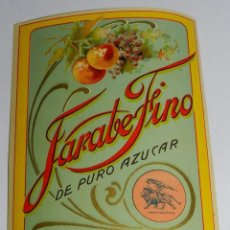 Coleccionismo de vinos y licores: ETIQUETA DE JARABE FINO DE PURO AZUCAR, VINO, ARTES GRAFICAS ROSARIO, MODERNISTA PRINCIPIOS DE SIGLO. Lote 56197598
