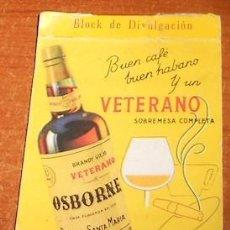 Coleccionismo de vinos y licores: LIBRETA DE CAMARERO CON PUBLICIDAD DE BRANDY VIEJO VETERANO OSBORNE. Lote 56316309