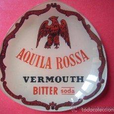 Coleccionismo de vinos y licores: CENICERO CRISTAL LIOFOLIZADO PUBLICIDAD VERMUT VERMOUTH AQUILA ROSSA VILAFRANCA PENEDES BARCELONA. Lote 57849528