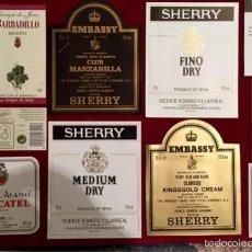 Coleccionismo de vinos y licores: 33 ETIQUETAS JEREZ MOSCATEL, ETC. A ESTRENAR. Lote 58070619