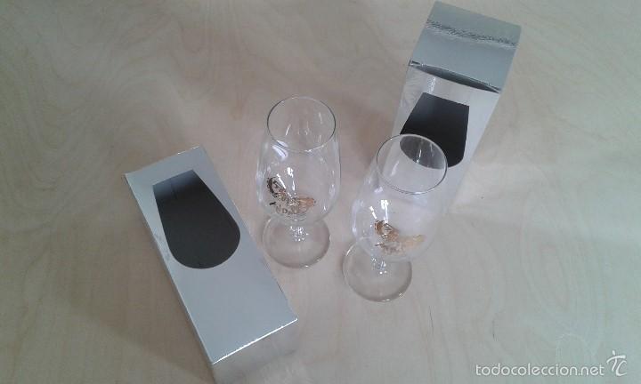 PAREJA DE COPAS DE JEREZ -- CON INSCRIPCIÓN DORADA -- LA RUTA ANDALUSA -- PERFECTAS EN SU CAJA -- (Coleccionismo - Botellas y Bebidas - Vinos, Licores y Aguardientes)