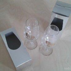 Coleccionismo de vinos y licores: PAREJA DE COPAS DE JEREZ -- CON INSCRIPCIÓN DORADA -- LA RUTA ANDALUSA -- PERFECTAS EN SU CAJA --. Lote 58524422