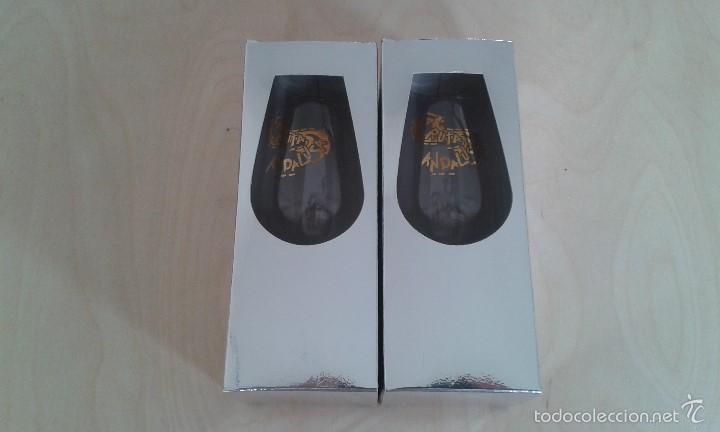 Coleccionismo de vinos y licores: Pareja de copas de Jerez -- Con inscripción dorada -- La Ruta Andalusa -- Perfectas en su caja -- - Foto 2 - 58524422