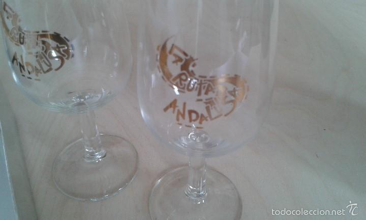 Coleccionismo de vinos y licores: Pareja de copas de Jerez -- Con inscripción dorada -- La Ruta Andalusa -- Perfectas en su caja -- - Foto 3 - 58524422