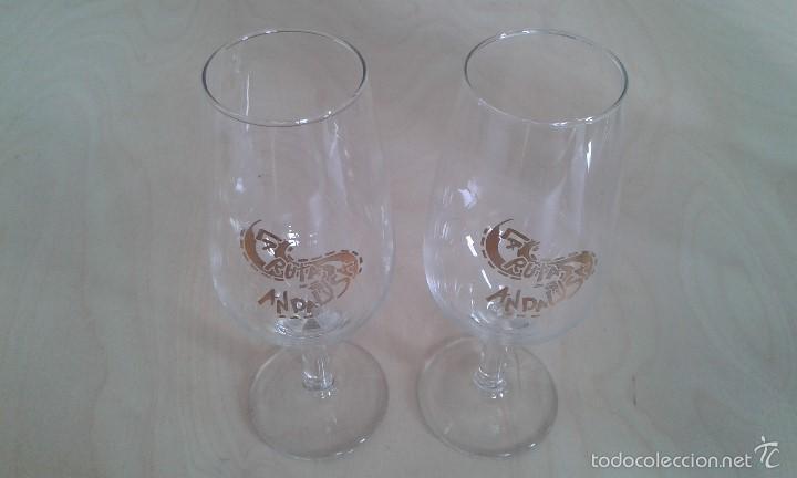 Coleccionismo de vinos y licores: Pareja de copas de Jerez -- Con inscripción dorada -- La Ruta Andalusa -- Perfectas en su caja -- - Foto 4 - 58524422