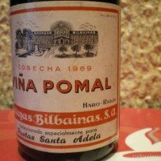 Coleccionismo de vinos y licores: BOTELLA VIÑA POMAL. COSECHA 1969. BODEGAS BILBAINAS. HARO RIOJA. PASTAS SANTA ADELA. Lote 59721867