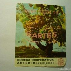Coleccionismo de vinos y licores: ETIQUETA VINO SELECTO S´ARTES .- ARTES BB. Lote 60013095